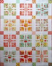 Candy Rose quilt pattern. A5 coloured Booklet. Easy strip piecing with large blocks and sashing using a Jelly Roll, Charm Pack and background fabric.