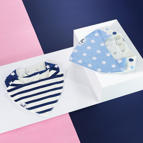 Baby bibs and toddler bibs by Bubze Australia in blue and white.