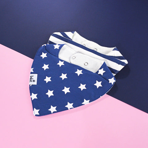 Blue and white baby bibs by Bubze Australia.