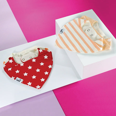 Baby bibs and toddler bibs by Bubze Australia in red and cream.