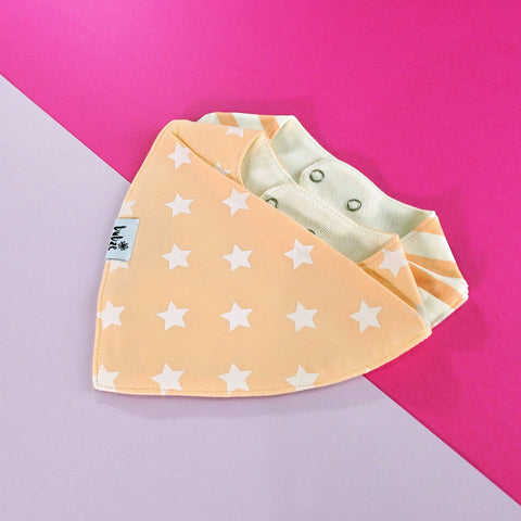 Red, peach and cream baby bibs by Bubze Australia.
