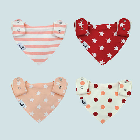 Bubze Australia 4-pack red and cream bibs for toddlers and babies aged from 6-24 months.
