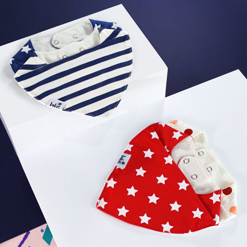 Baby bibs and toddler bibs by Bubze Australia in red and cream and blue and white.