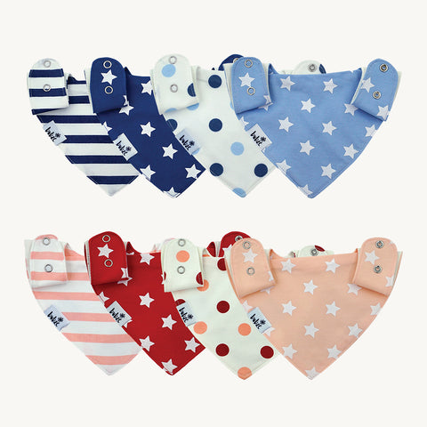 Bubze Australia 8-pack red and cream and blue and white bibs for toddlers and babies aged from 6-24 months.