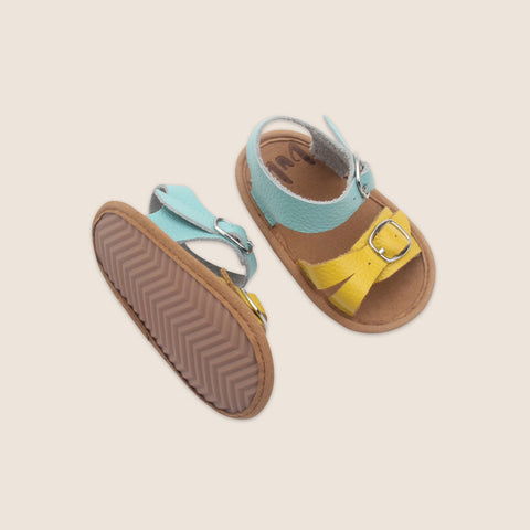 Blue and yellow sandals for babies and toddlers by Bubze Australia.
