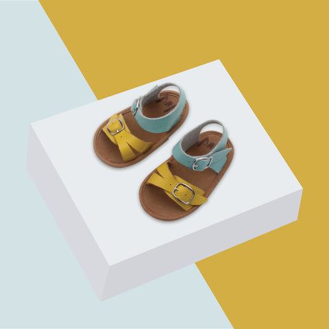 Baby sandals in blue and yellow by Bubze Australia. Perfect for both baby boys and baby girls.