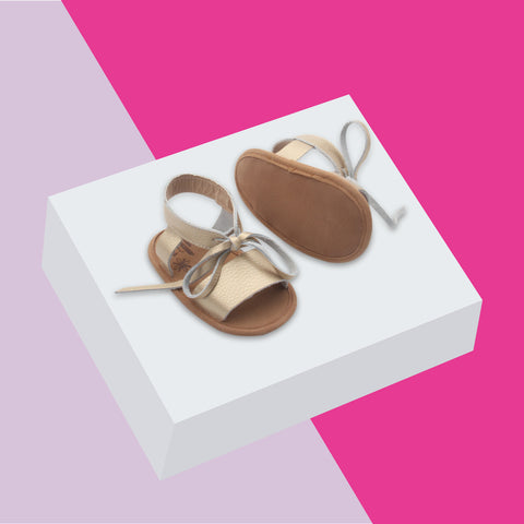 Baby sandals and toddler sandals by Bubze Australia. Gold leather sandals.
