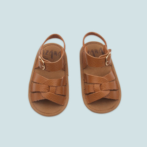 Bubze Australia tan leather sandals for toddlers and babies aged from 6-24 months.