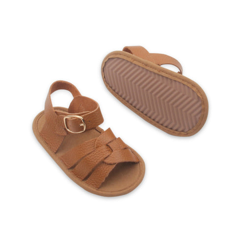 Baby sandals and toddler sandals by Bubze Australia. Tan leather sandals.