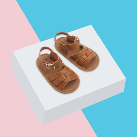 Bubze Australia tan leather sandals for toddlers and babies aged from 6-24 months