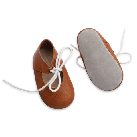 Tan marry janes by Bubze. Baby shoes and toddler shoes available.