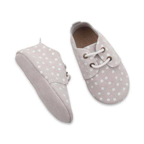 Cream polkadot loafers by Bubze. Baby shoes and toddler shoes available.