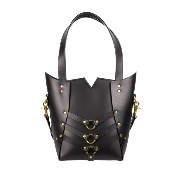 PALLAS TOTE - Black and Brass