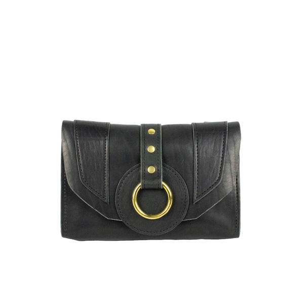 PIXIE WALLET CLUTCH - BLACK & BRASS