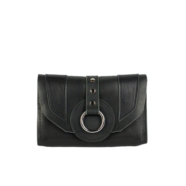 PIXIE WALLET CLUTCH - BLACK & NICKEL
