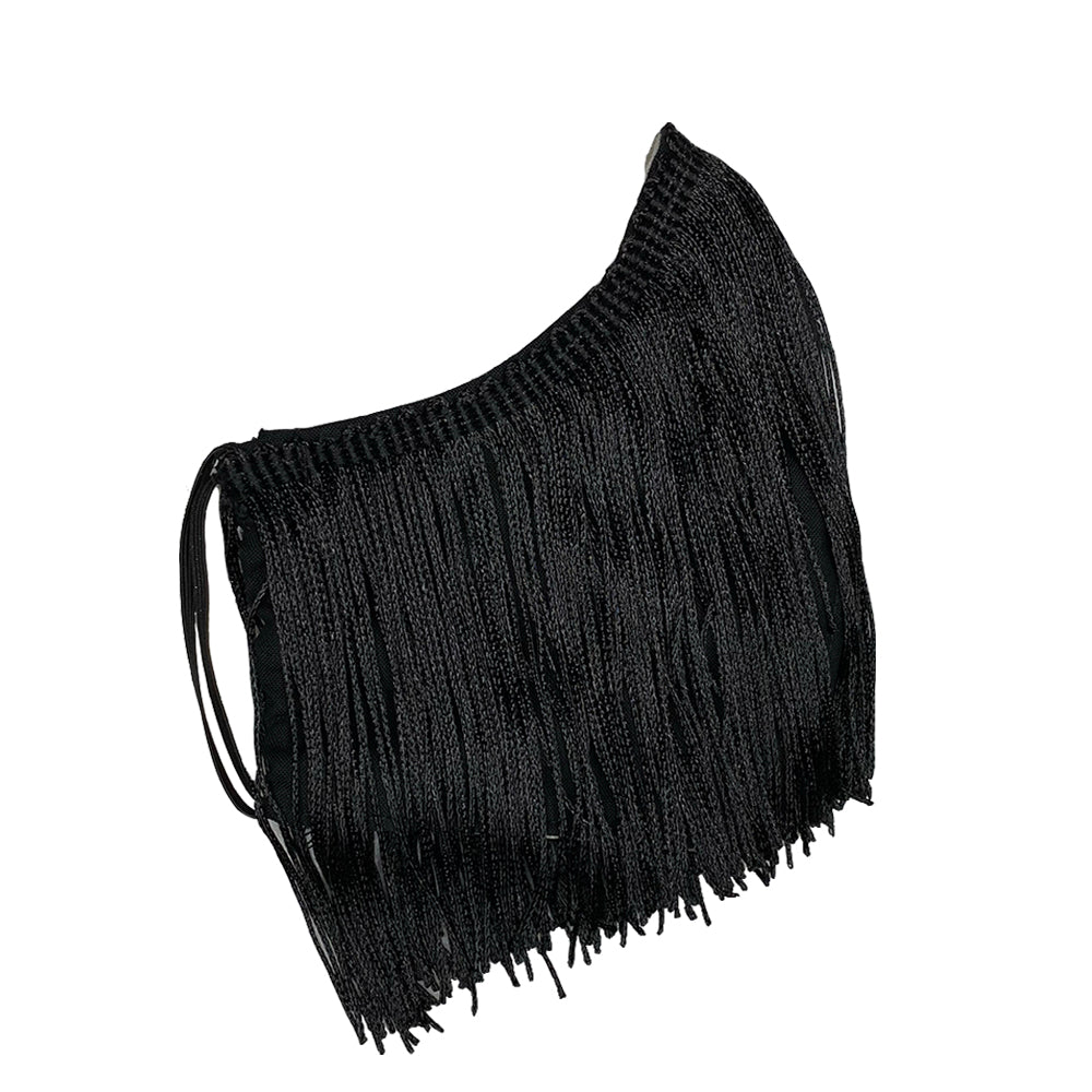 FRINGE FACE MASK - BLACK