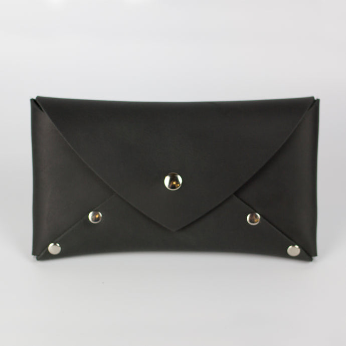 SELENE WALLET CLUTCH - BLACK & NICKEL