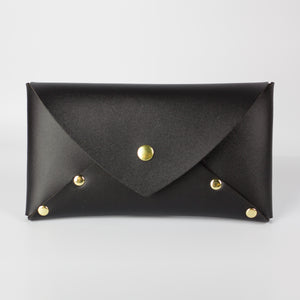 VEGAN SELENE WALLET CLUTCH - BLACK & BRASS