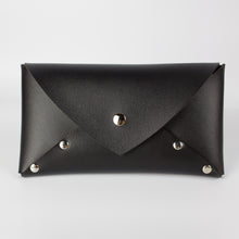 VEGAN SELENE WALLET CLUTCH - BLACK & NICKEL