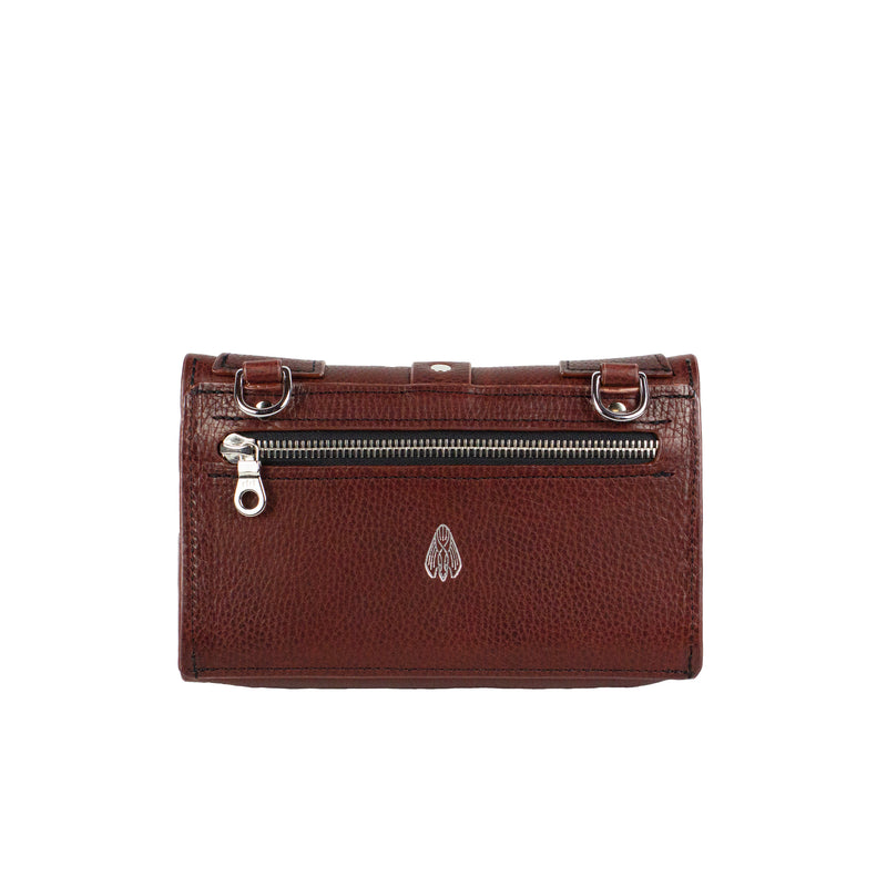 PIXIE WALLET CLUTCH - OXBLOOD & NICKEL