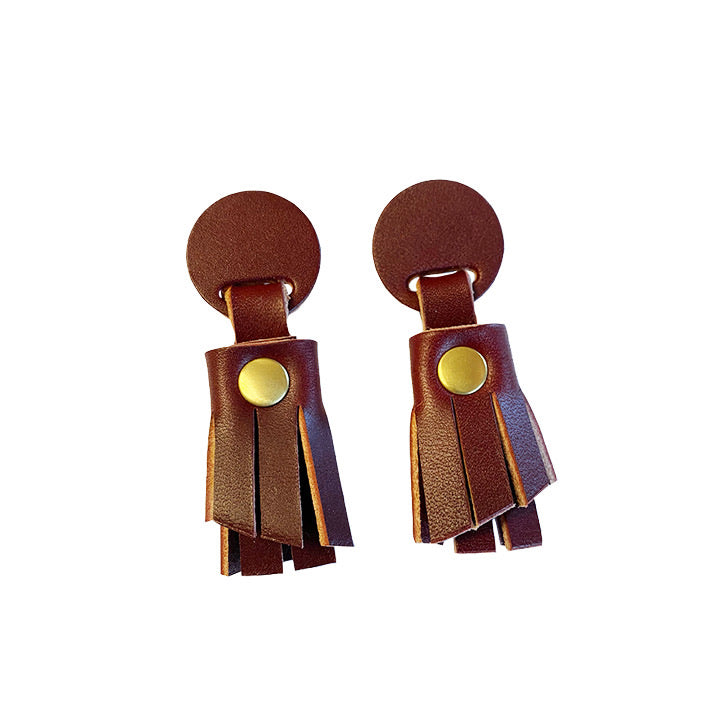 Leather Fringe Earrings - Oxblood & Brass