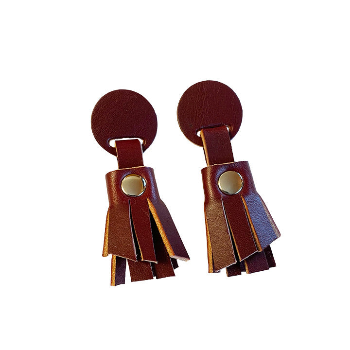 Leather Fringe Earrings - Oxblood & Nickel