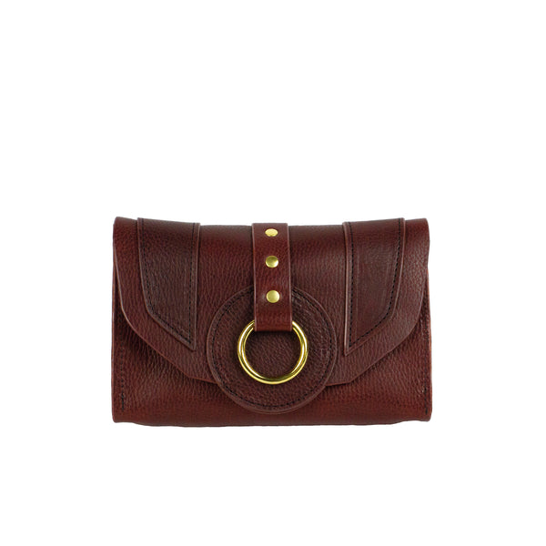 PIXIE WALLET CLUTCH - OXBLOOD & BRASS