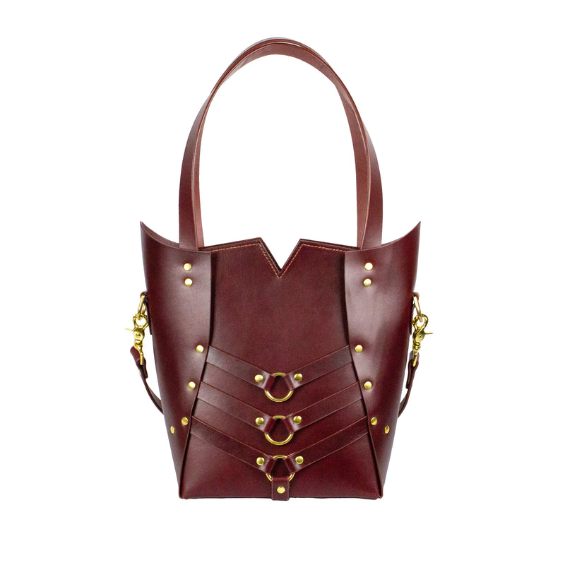PALLAS TOTE - Oxblood and Brass