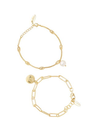 Single Charms Coin and Pearl 18k Gold Plated Bracelet Set