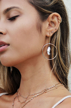 Modern 18k Gold Plated & Freshwater Pearl Drop Hoop Earrings