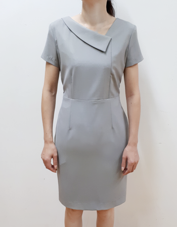 Dress with fold down asymmetric slant collar