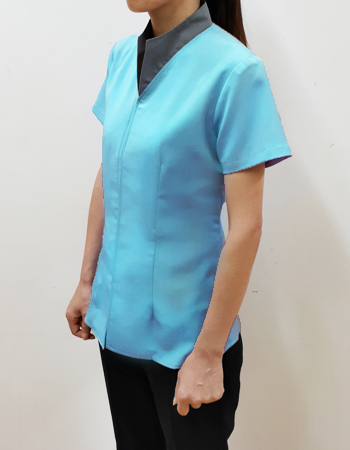 Blouse with high cut collar