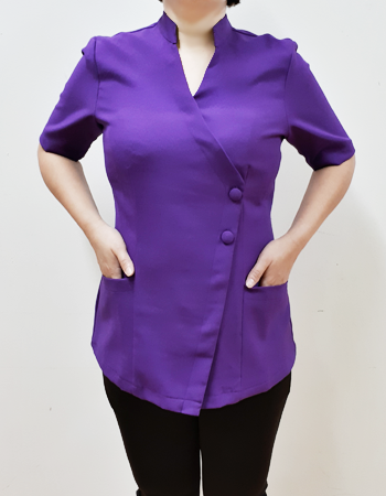 Mandarin blouse with V overlap