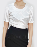 Classy female blouse with neckline darts