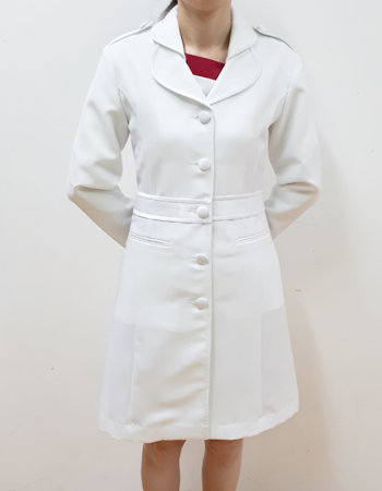 Ladies fashionable lab coat with peter pan collar