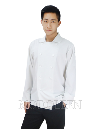 Western style chef coat with Peter Pan collar