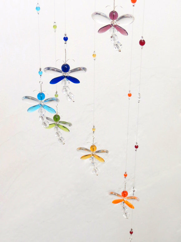 Sprial Rainbow Dragonfly Mobile (7 piece) - optional night light