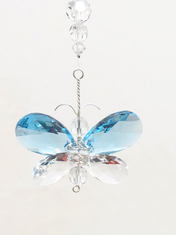 Swarovski Crystal Butterfly / Fairy / Angel in Blue, Pink or Clear Crystal