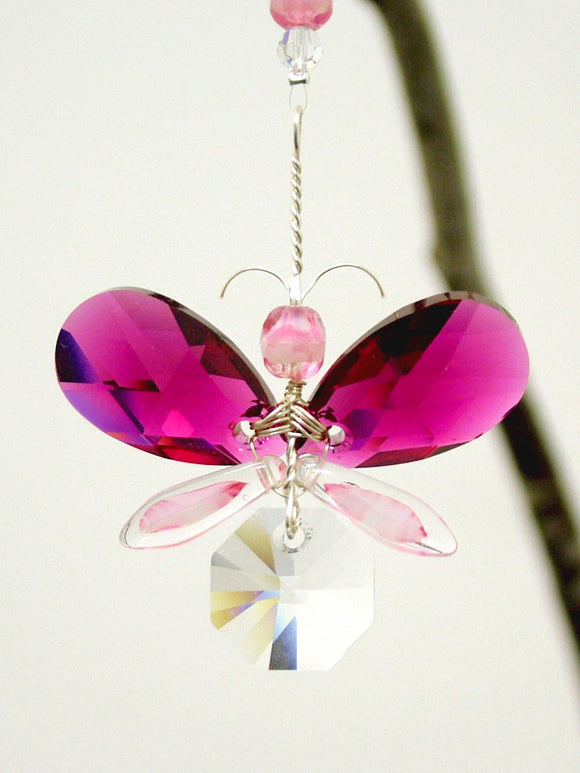 Pink Butterfly / Angel Suncatcher Ornament
