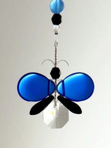 Blue & Black Butterfly Ornament Suncatcher