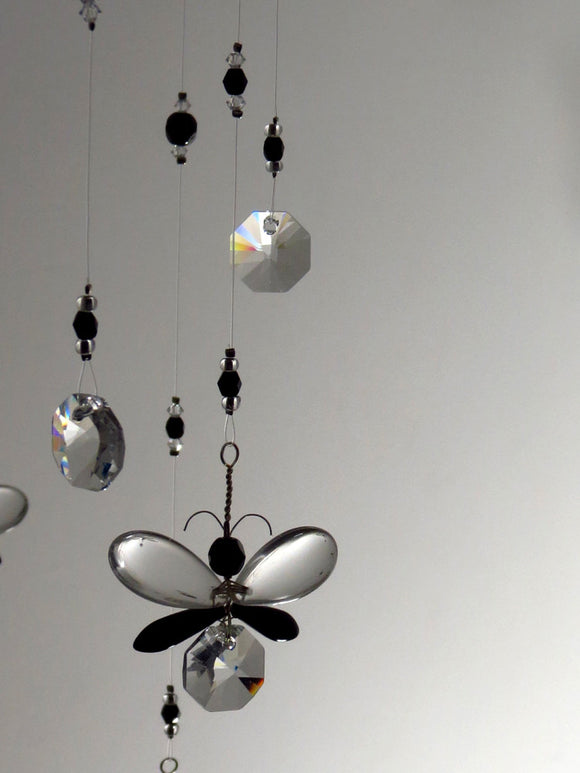 Black Butterfly Crystal Chandelier Mobile