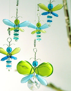 Green & Blue Butterfly & Dragonfly Mobile (6 piece)