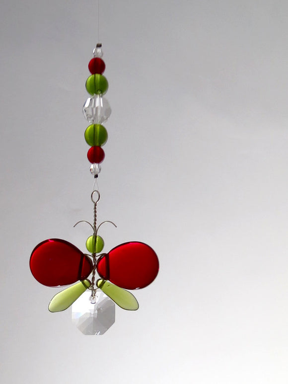 Red & Green Butterfly / Fairy Suncatcher Ornament