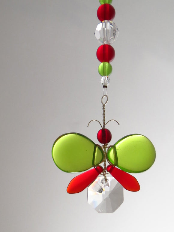 Green & Red Christmas Colours Butterfly / Fairy Suncatcher