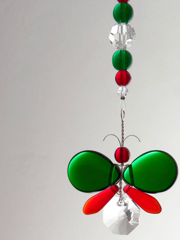 Dark Green & Red Christmas Colours Butterfly Ornament Suncatcher