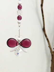 Purple & White Butterfly Suncatcher Ornament