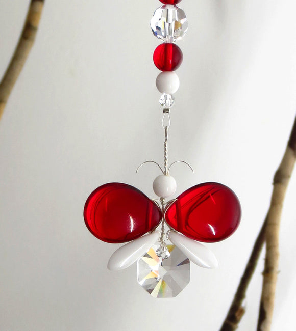 Red & White Butterfly Suncatcher