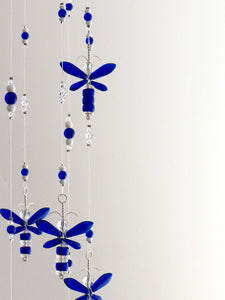 Cobalt Blue Dragonfly Mobile (12 piece hoop)