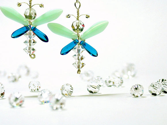 Aqua & Blue Butterfly / Fairy Earrings