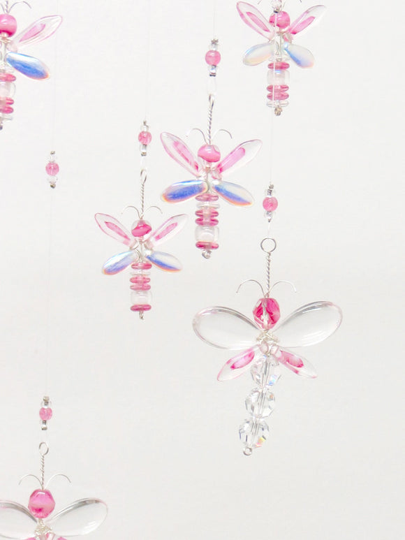 Pink Dragonfly Chandelier Mobile (12 piece)